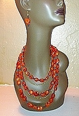 Coral Sunset Necklace and Earrings